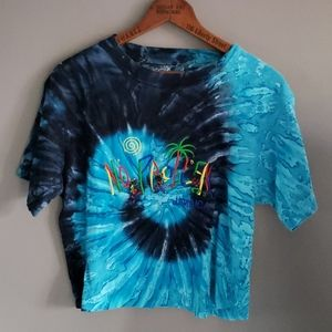 Vintage Upcycled Jamaica Blue Tie Dye Crop T-Shirt